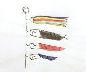 季礼文字 鯉のぼり